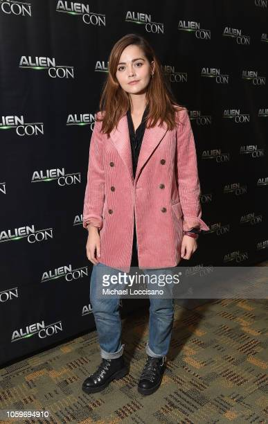 Jenna Coleman attends the Spotlight: Doctor Who's Jenna Coleman talk during Day 1 of AlienCon Baltimore 2018 at the Baltimore Convention Center on...