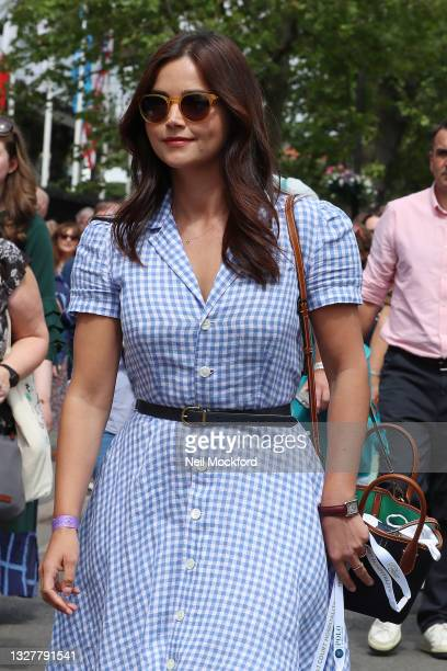 Jenna Coleman attends Wimbledon Championships Tennis Tournament Day 11 at All England Lawn Tennis and Croquet Club on July 09, 2021 in London,...