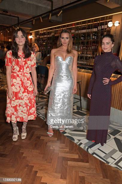 """Jenna Coleman, Billie Piper and Emilia Clarke attend the red carpet gala screening of Billie Piper's directorial debut """"Rare Beasts"""" at Everyman..."""