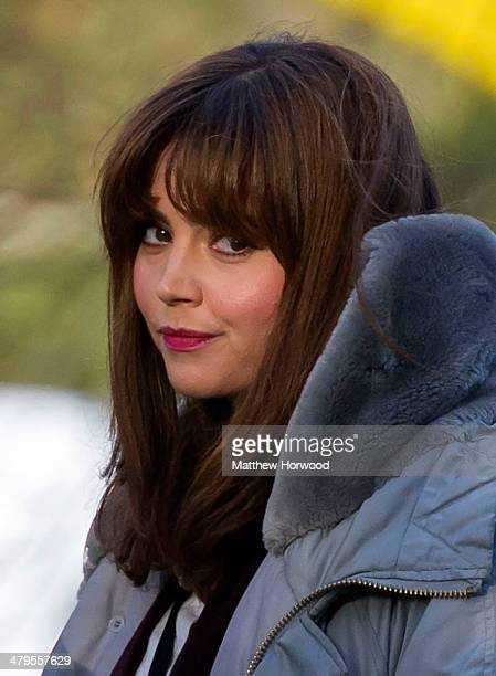 Jenna Coleman during filming for the eighth series of BBC show Doctor Who in Bute Park on March 18 2014 in Cardiff Wales