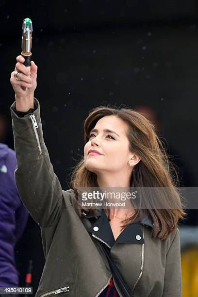 Jenna Coleman films the the eighth series of BBC show 'Doctor Who' at the Maelfa shopping centre in Llanedeyrn Cardiff on June 4 2014 in Cardiff Wales