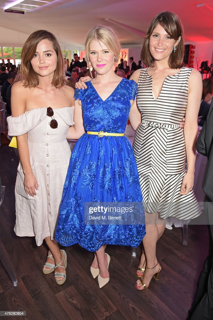Jenna Coleman, Hannah Arterton and Gemma Arterton attend day one of the Audi Polo Challenge at Coworth Park on May 30, 2015 in London, England.
