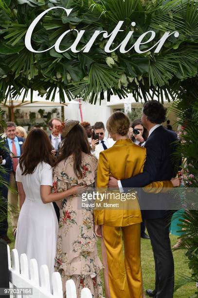 Jenna Coleman Lily Collins Martha Hunt and Laurent Feniou attend the Cartier Queen's Cup Polo at Guards Polo Club on June 17 2018 in Egham England