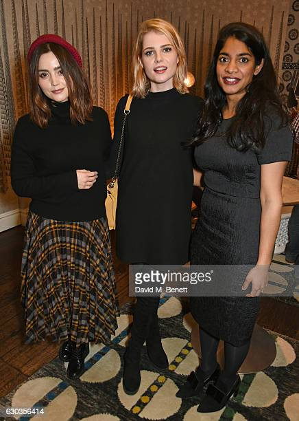 Jenna Coleman Lucy Boynton and Amara Karan attend a VIP screening of 'Sing Street' hosted by Harvey Weinstein and Dominic West at The Soho Hotel on...