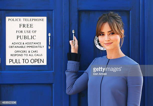 Jenna Coleman poses on a world tour to promote the new series of Doctor Who at Dendy Opera Quays on August 12 2014 in Sydney Australia