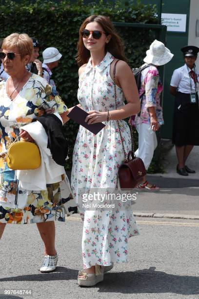 Jenna Coleman seen arriving at Wimbledon for Men's Semi Final Day on July 12 2018 in London England