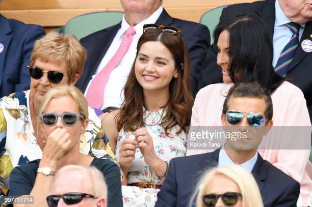 Jenna Coleman Shara Grylls and Bear Grylls attend day eleven of the Wimbledon Tennis Championships at the All England Lawn Tennis and Croquet Club on...