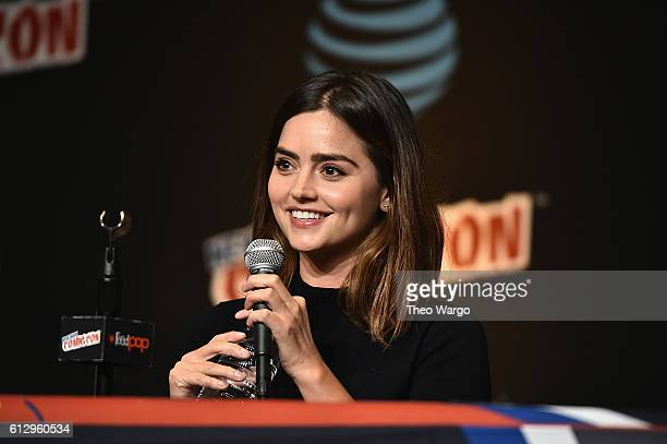 Jenna Coleman speaks at the Tales from the TARDIS panel at Jacob Javits Center on October 6 2016 in New York City