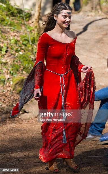 Jenna Coleman spotted wearing an orange medieval dress during filming for the eighth series of BBC show Doctor Who at Fforest Fawr near Castell Coch...