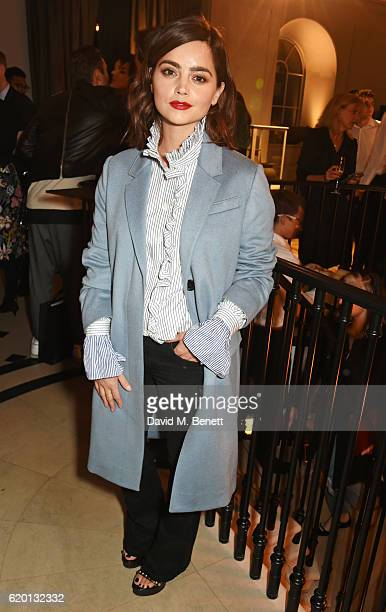 Jenna Coleman wearing Burberry attends an event to celebrate 'The Tale of Thomas Burberry' at Burberry's all day cafe Thomas's on November 1 2016 in...