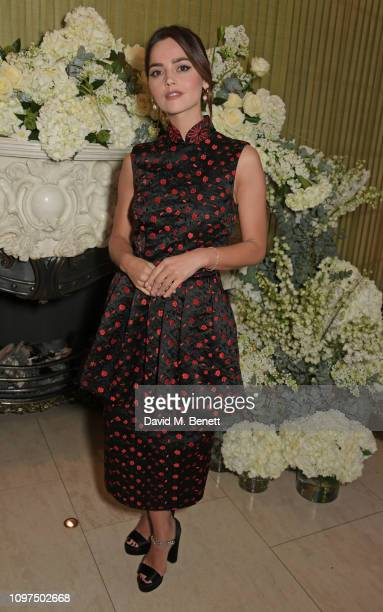 Jenna Coleman wearing Tiffany & Co. Attends the British Vogue and Tiffany & Co. Celebrate Fashion and Film Party at Annabel's on February 10, 2019 in...