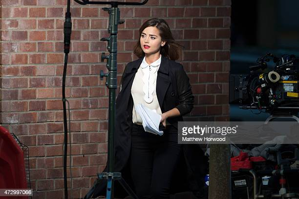 Jenna Coleman who plays the Doctor's Companion Clara Oswald is spotted during filming for BBC show 'Doctor Who' at Lydstep Flats on May 11 2015 in...