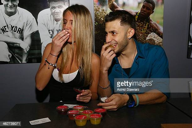 Jenna Compono and Jay Mitchell attend MTV's The Real World ExPlosion Season Premiere Party at Bottomz Up Bar and Grill on January 14 2014 in New York...