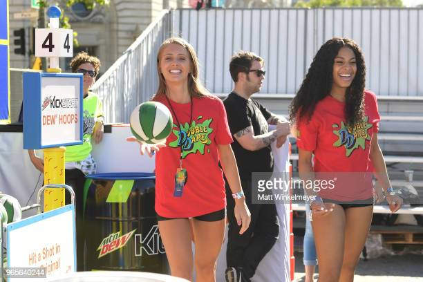 Jenna Compono and Kam Williams attend Double Dare presented by Mtn Dew Kickstart at Comedy Central presents Clusterfest on June 1 2018 in San...
