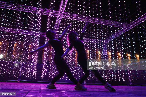 Jenna Corker and Jenna Davidson dancers from Edinburgh's Performance Arts Studio Scotland pose for a picture in front of Ocean of Light installation...