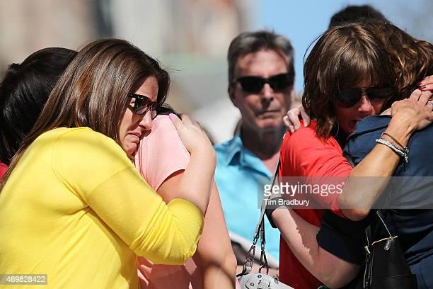Jenna Dziedzic of Boston MA Sabrina Dellorusso of Boston MA Linda Witt of Neenah WI and Jillian Boynton of Manchester NH react during a moment of...