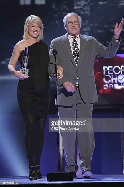 Jenna Elfman and Chevy Chase present the award for Favorite TV Comedy at the 2010 People's Choice Awards to be broadcast live from the Nokia Theater...