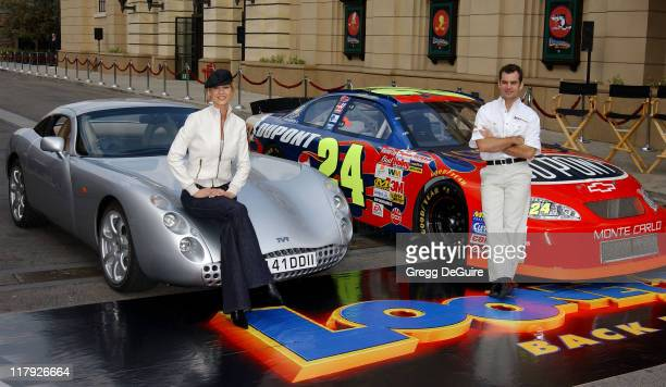 Jenna Elfman and Jeff Gordon during Jeff Gordon and Jenna Elfman Team Up to Unveil a Race Car Pace Car and Spy Car at Warner Bros Studios in Burbank...