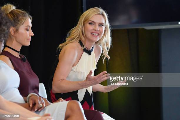 Jenna Elfman and Rhea Seehorn speak onstage during the KickAss Women of AMC Panel at the AMC Summit at Public Hotel on June 20 2018 in New York City
