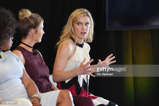 Jenna Elfman and Rhea Seehorn speak onstage during the 'KickAss Women of AMC' Panel at the AMC Summit at Public Hotel on June 20 2018 in New York City