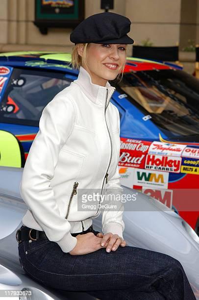 Jenna Elfman during Jeff Gordon and Jenna Elfman Team Up to Unveil a Race Car Pace Car and Spy Car at Warner Bros Studios in Burbank California...
