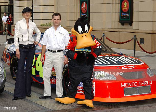 Jenna Elfman Jeff Gordon and Daffy Duck during Jeff Gordon and Jenna Elfman Team Up to Unveil a Race Car Pace Car and Spy Car at Warner Bros Studios...
