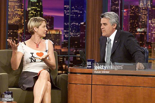 Jenna Elfman on The Tonight Show with Jay Leno at the NBC Studios in Los Angeles Ca October 8 2001 Photo by Kevin Winter/Getty Images