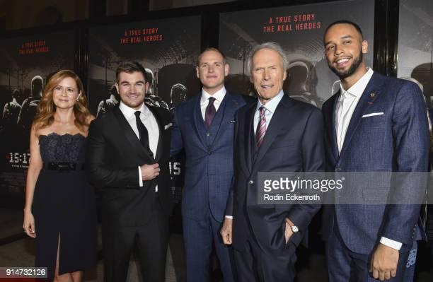 Jenna Fischer Alek Skarlatos Spencer Stone director/producer Clint Eastwood and Anthony Sadler arrive at the premiere of Warner Bros Pictures' 'The...