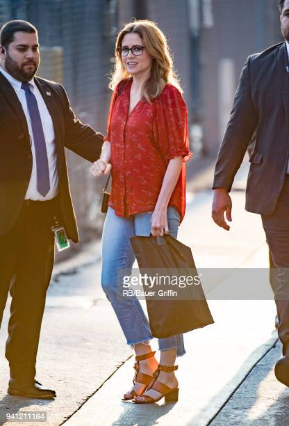 Jenna Fischer is seen at 'Jimmy Kimmel Live' on April 02 2018 in Los Angeles California