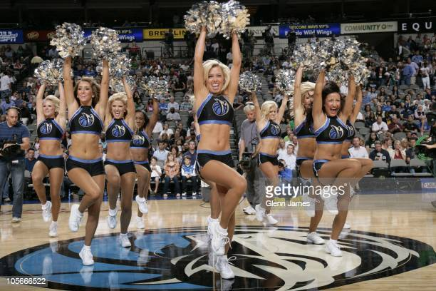 Jenna Gillund of the Dallas Mavericks dance team performs during a preseason game against the Chicago Bulls on October 7 2010 at the American...