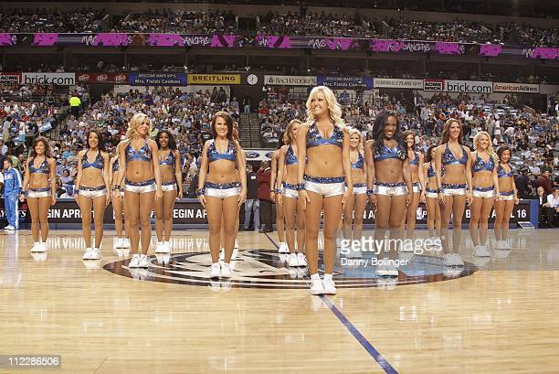 Jenna Gillund of the Dallas Mavericks dance team performs during the game against the New Orleans Hornets on April 13 2011 at the American Airlines...