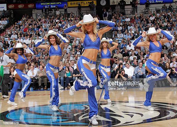 Jenna Gillund performs with the Dallas Mavericks dance team during a game against the Sacramento Kings on February 16 2011 at the American Airlines...