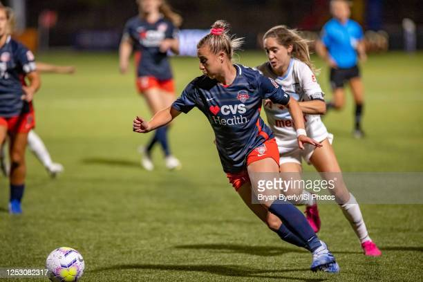 Jenna Hellstrom of Washington Spirit plays for the ball during a game between Washington Spirit and Chicago Red Stars at Zions Bank Stadium on June...