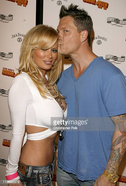 Jenna Jameson and John Abrams during Ivan Kane's Royal Jelly Live '06 Arrivals at Forty Deuce in Hollywood California United States