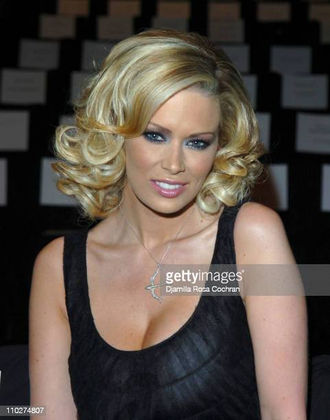 Jenna Jameson during Olympus Fashion Week Fall 2006 Badgley Mischka Front Row and Backstage at Bryant Park in New York City New York United States