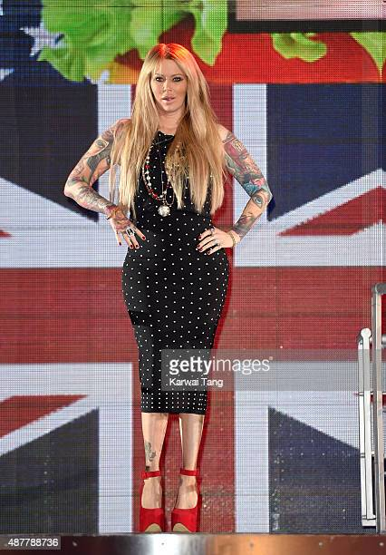 Jenna Jameson leaves the house during a fake eviction at the Big Brother house at Elstree Studios on September 11, 2015 in Borehamwood, England.
