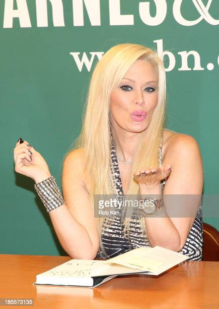 """Jenna Jameson signs copies of her new book """"Sugar"""" at Barnes & Noble, 5th Avenue on October 22, 2013 in New York City."""