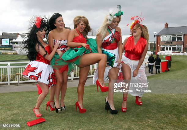 Jenna Jonathan Natalee Harris Nicole Morris Lateysha Grace and Carley Belmonte from MTVs The Valleys pose for photographers during Ladies Day at the...