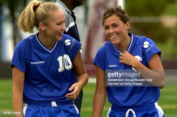 Jenna Kaiser left and Amanda Foulk right Broomfield High School joke with each other before the Colordo High School Soccer Coaches Association 2004...