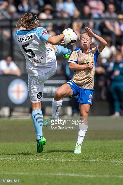 Jenna Kingsley of the Newcastle Jets Women and Laura Alleway of Melbourne City Women contest the ball during the 1st round of the Westfield W-League...
