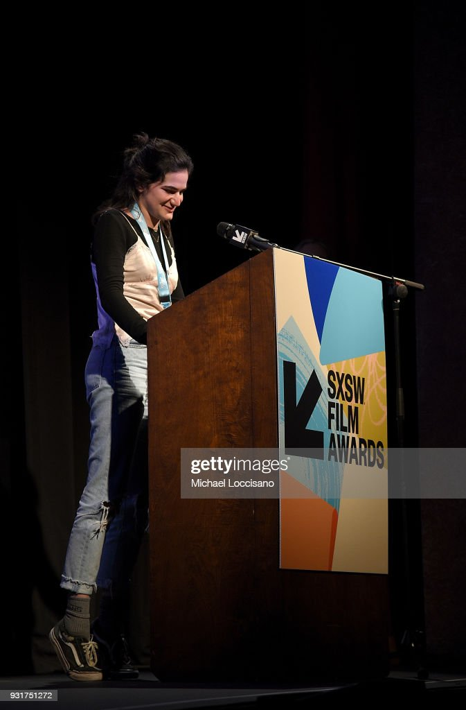 Jenna Krumerman accepts the Texas High School Shorts award for 'The Night I Lost My Favorite' at the SXSW Film Awards show during the 2018 SXSW Conference and Festivals at Paramount Theatre on March 13, 2018 in Austin, Texas.