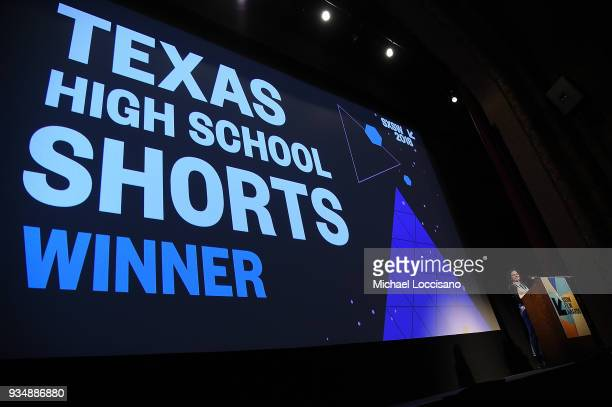 Jenna Krumerman accepts the Texas High School Shorts award for 'The Night I Lost My Favorite' at the SXSW Film Awards show during the 2018 SXSW...