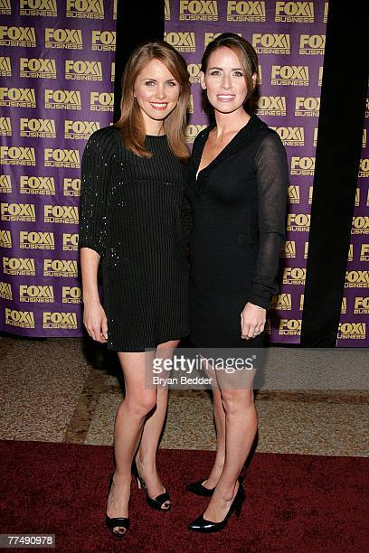 Jenna Lee and Alexis Glick of Fox Business News arrive at the Fox Business Network launch party at the Metropolitain Museum of Art on October 24 2007...