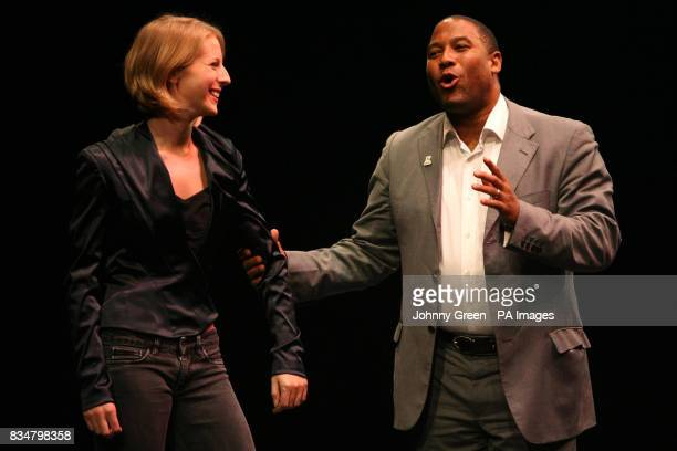 Jenna Lee Choreographer of The Beautiful Game A Football Ballet jokes with former England footballer John Barnes at the press preview at the Unicorn...