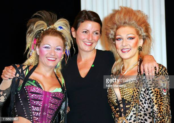 Jenna Lee James Davina McCall and Mazz Murray during Davina McCall and the Cast of We Will Rock You Present The NSPCC with a Check for 250 Raised by...