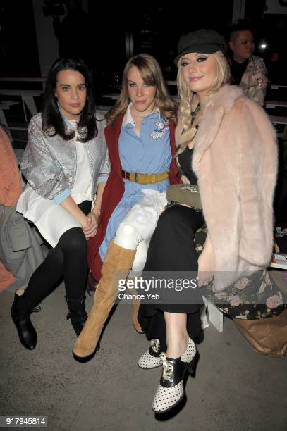 Jenna Leigh Green Emma Myles and Francesca Curran attend the Vivienne Tam front row during New York Fashion Week at Spring Studios on February 13...