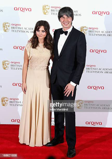 Jenna Louise Coleman and Professor Brian Cox during the Arqiva British Academy Television Awards 2013 at the Royal Festival Hall on May 12 2013 in...