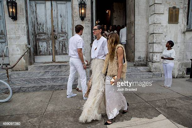 Jenna Lyons and guest outside of the wedding ceremony of musician Solange Knowles and music video director Alan Ferguson at the Marigny Opera House...