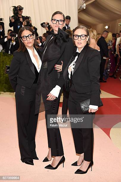 Jenna Lyons and Lena Dunham attend 'Manus x Machina Fashion In An Age Of Technology' Costume Institute Gala at Metropolitan Museum of Art on May 2...
