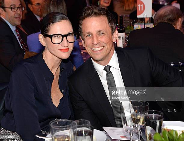Jenna Lyons and Seth Meyers attend Bloomberg Businessweek's 85th Anniversary Celebration at American Museum of Natural History on December 4 2014 in...